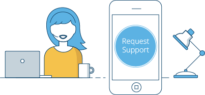 Request support through our app