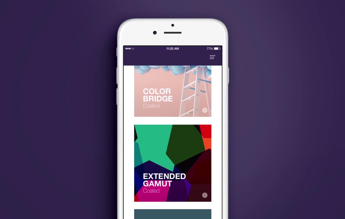 Pantone mobile application user interface