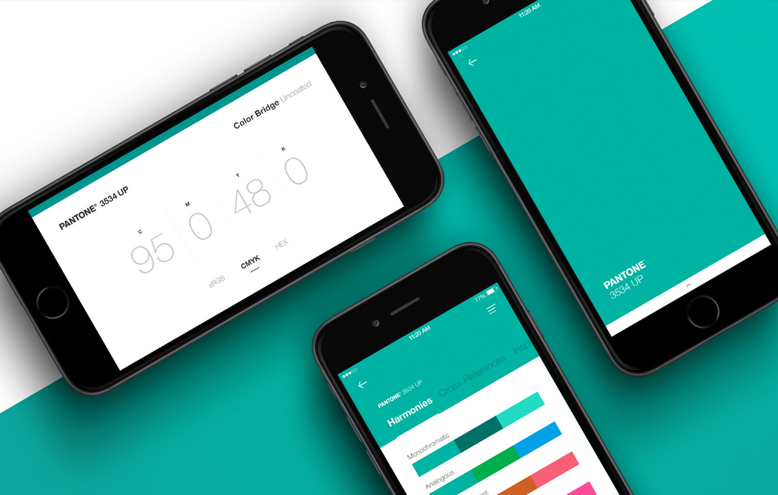Pantone mobile application UI